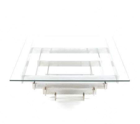 Chromed Glass Table by Zaruch Limited England, 1970s