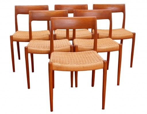 Set of Six Teak Dining Chairs No. 77 by Niels Møller