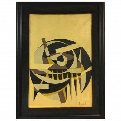 Geometric composition - Oil on canvas signed Arciero, 1970s
