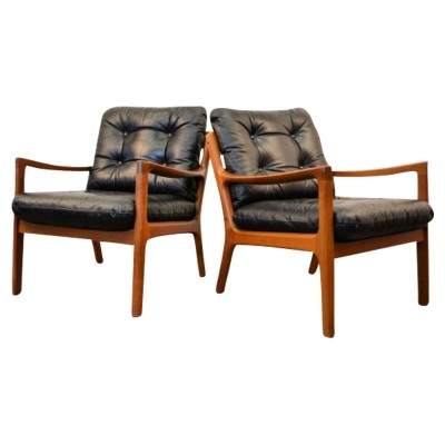Pair of Ole Wanscher 'Senator' teak lounge chairs