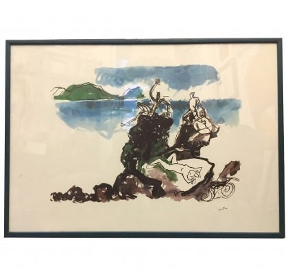 'On Cliffs' Color screen printing by Renato Guttuso