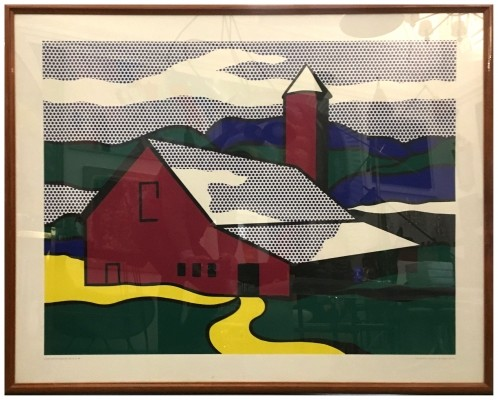 'Red barn 2' Serigraphy by Roy Lichtenstein, 1989