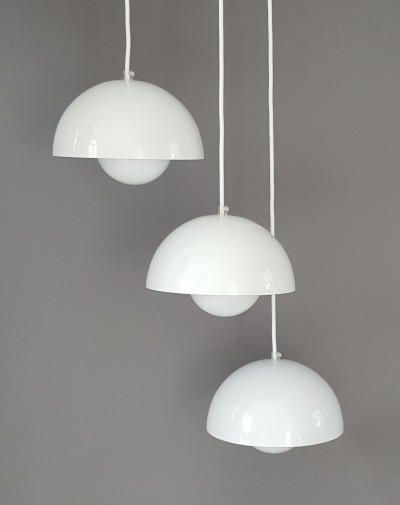 Set of 3 Flowerpot Hanging Lamps by Verner Panton for Louis Poulsen