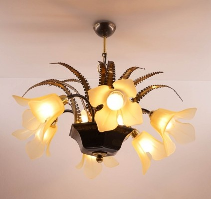 Brutalist Chandelier with Six Flower-shaped Shades