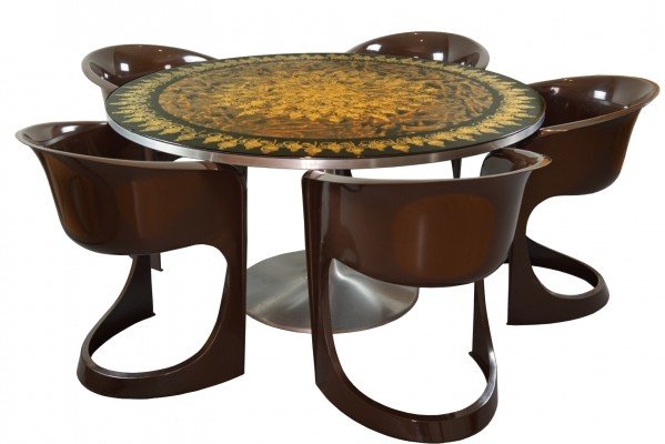 Danish Mygge Dining Table with five Steen Ostergaard Chairs