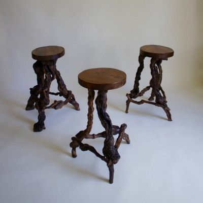 Grape Vine Wood Stools, 1950s