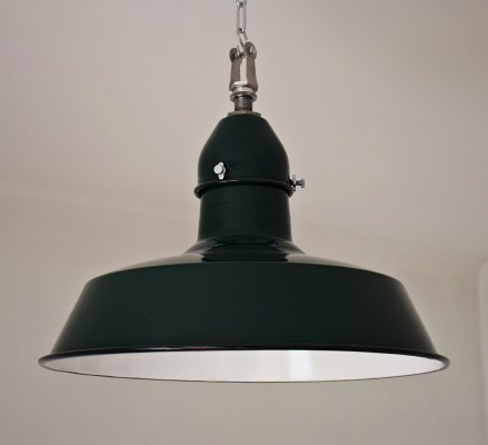 6 x Green enamel retro workshop lamp