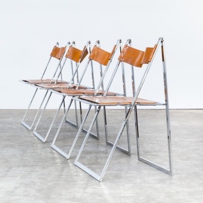 Set of 4 Elios dinner chairs by Fontoni & Geraci, 1960s