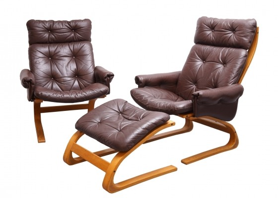 Two Kengu Easy Chairs with one Ottoman from Rykken