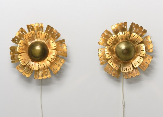 Pair of Large Flower wall lamps by Sven Aage Holm Sørensen for Holm Sørensen & Co, 1960s