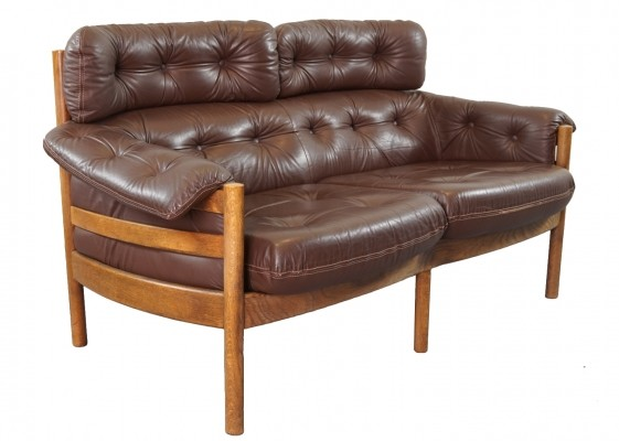 Teak & Leather Sofa by Arne Norell for Coja