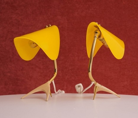 Pair of Table Lamp with Yellow Shades