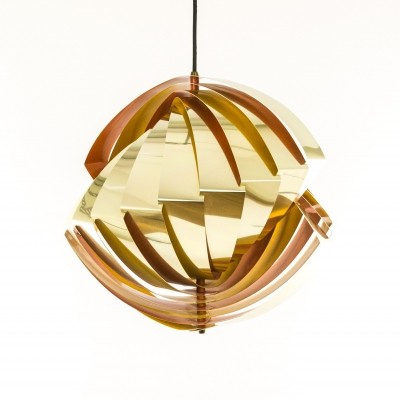 Gold & orange Konkylie pendant by Louis Weisdorf for Lyfa, 1960s