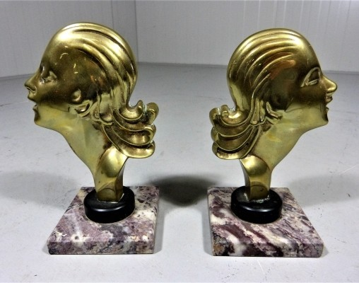 Vintage Brass Bookends, 1920s