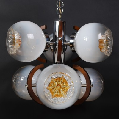Mazzega Murano glass hanging lamp with 6 shades