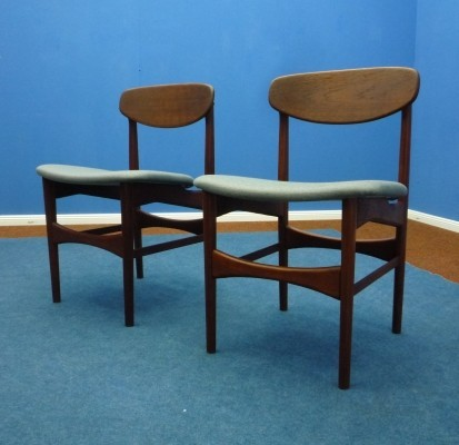 Pair of Teak Chairs by architect Hovmand Olsen for Jutex Denmark, 1950s