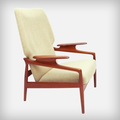 American Reclining Teak & Wool Fabric Lounge Chair by Advance Design, 1960s