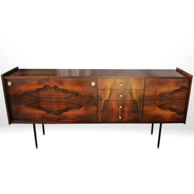 Italian Midcentury Walnut Sideboard with brass details
