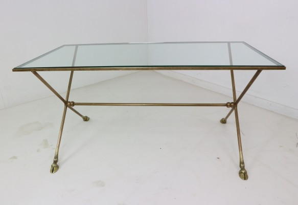 French Bronze Cocktail Table with Glass Top & Brass Feet