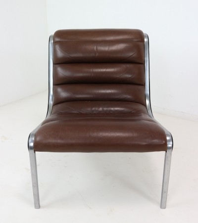 Rare Aluminium Frame & Leather Seating Lounge Chair, 1970s