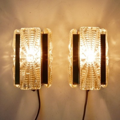 Pair of model 15415 wall lamps by Vitrika, 1970s