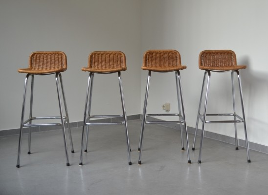 4 x Wicker bar stool by Dirk van Sliedregt for Rohé Noordwolde
