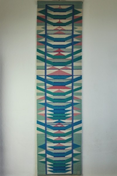 Scandinavian handwoven tapestry in pink, blue & turquoise colors