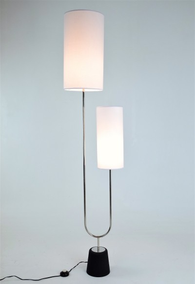 'Diapason' Steel Floor Lamp by Maison Arlus, France, 1960s