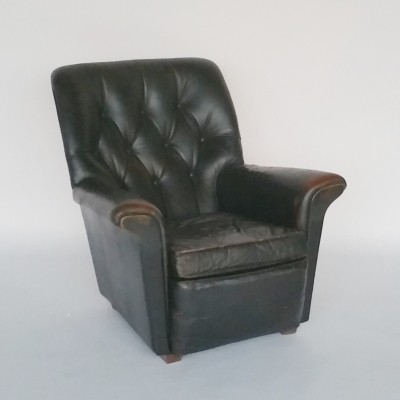 Vintage English Leather Lounge Chair, 1960s