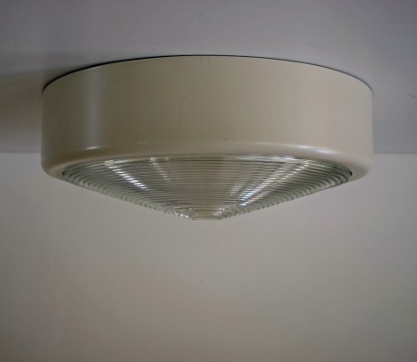 Ceiling lamp in prismatic glass & metal, 1970s