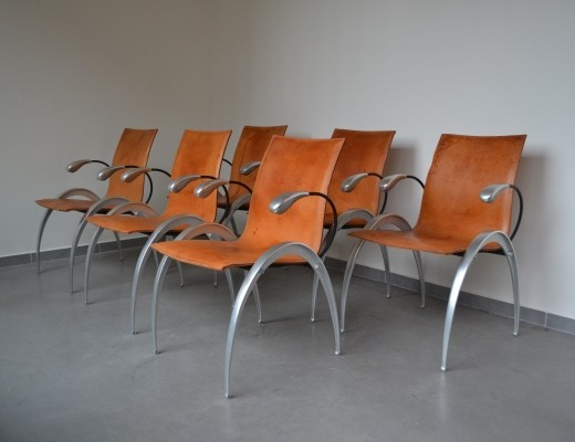 6 x Sculptural cognac leather dining chairs, 1960s
