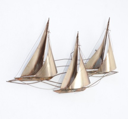 Large Wall Sculpture of Sailboats by Curtis Jere, 1977