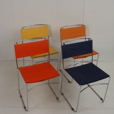 Set of 4 Delphino dinner chairs by Enzo Mari for Robots, 1970s