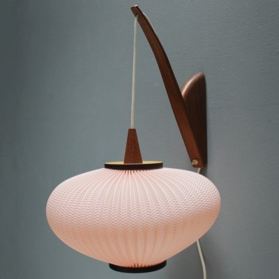 French lamp in walnut & celluloid (rhodoïd), 1950s