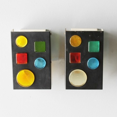 Pair of very rare geometric sconces by Raak Amsterdam, 1960s