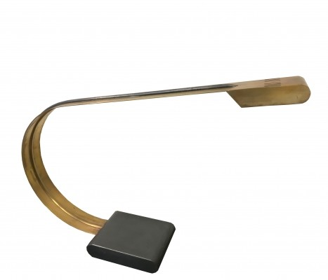Italian brass arc desk lamp, 1970s