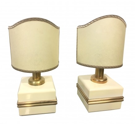 Pair of ivory laquered wood & brass table lamp, 1970s