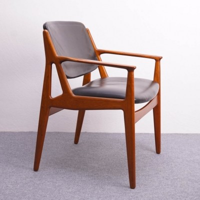Teak & Leather Chair 'Lene' by Arne Vodder