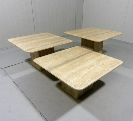 Set of 3 Travertine Side Tables