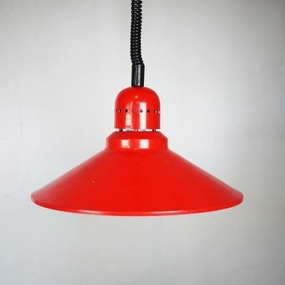 Red aluminum dining light with a pull down fixture