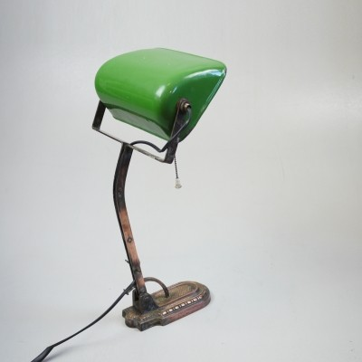 Bankers green enamel desk lamp with a copper foot