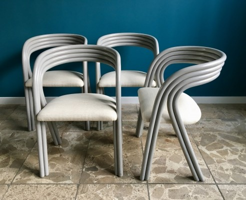 Set of 4 dinner chairs by Axel Enthoven for Rohé Noordwolde, 1980s