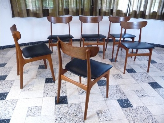 Set of 6 dining chairs by Schiønning & Elgaard for Randers Mobelfabrik, 1960s