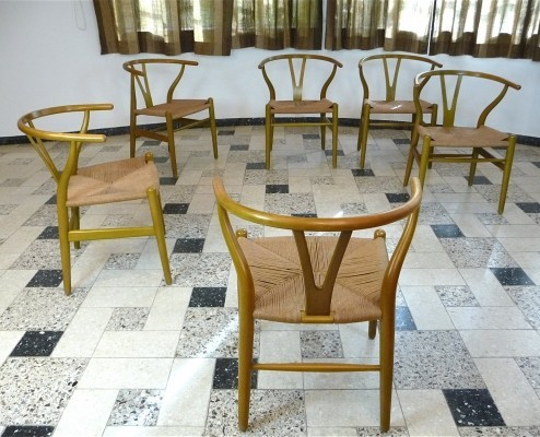Set of 6 CH24 Wishbone dining chairs by Hans Wegner for Carl Hansen & Son, 1950s