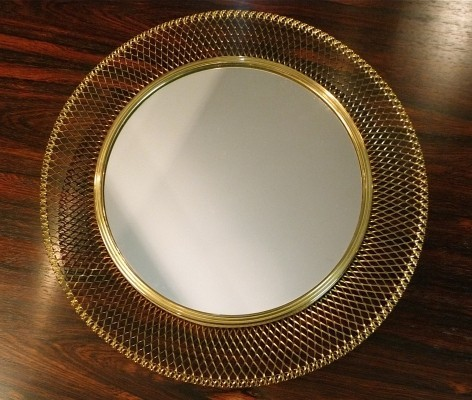 Brass Wire Mesh Mirror, 1950s