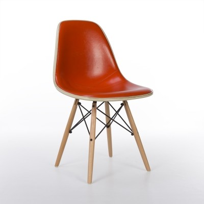 Original Orange Upholstered Herman Miller White Eames DSW Side Chair