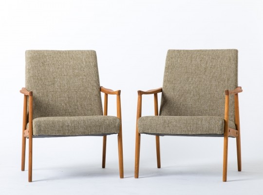 Pair of Wooden arm chairs, 1960s