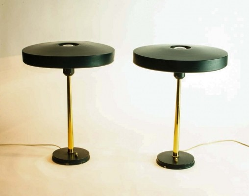 Pair of Timor 69 Table Lamps in Dark Green & Brass by Louis Kalff for Philips