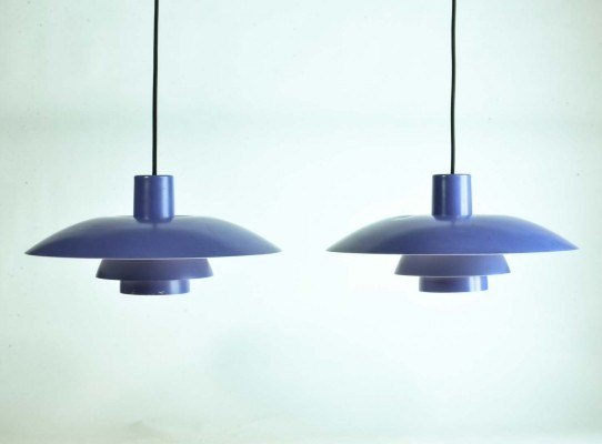 Pair of Lavender Pendants PH4/3 by Poul Henningsen for Louis Poulsen, 1960s