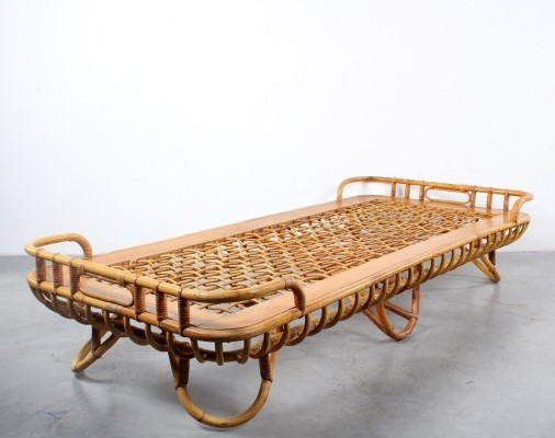 Rattan daybed by Rohé Noordwolde, 1950s